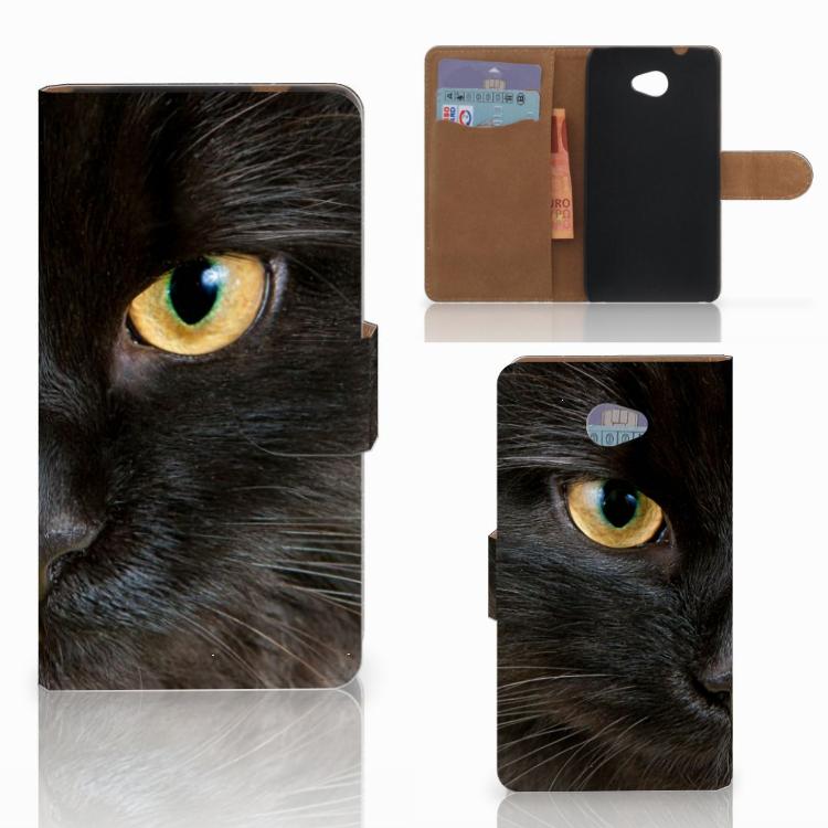HTC Desire 601 Telefoonhoesje met Pasjes Zwarte Kat