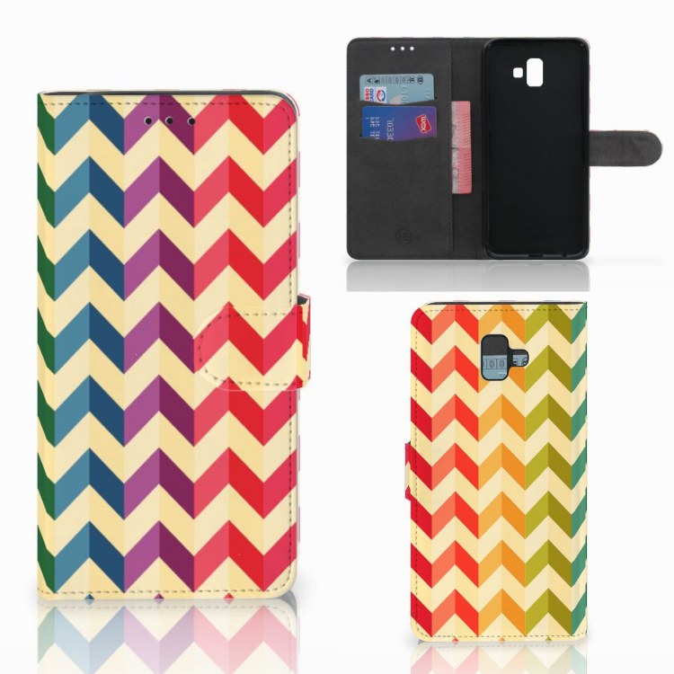 Samsung Galaxy J6 Plus (2018) Telefoon Hoesje Zigzag Multi Color