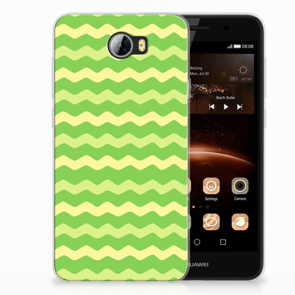 Huawai Y5 II | Y6 II Compact TPU Hoesje Design Waves Green