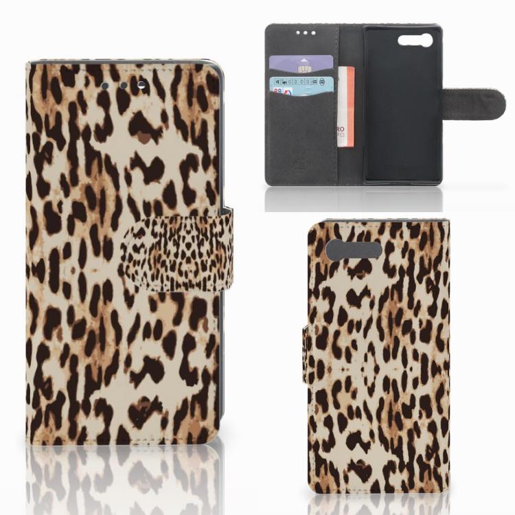 Sony Xperia X Compact Telefoonhoesje met Pasjes Leopard