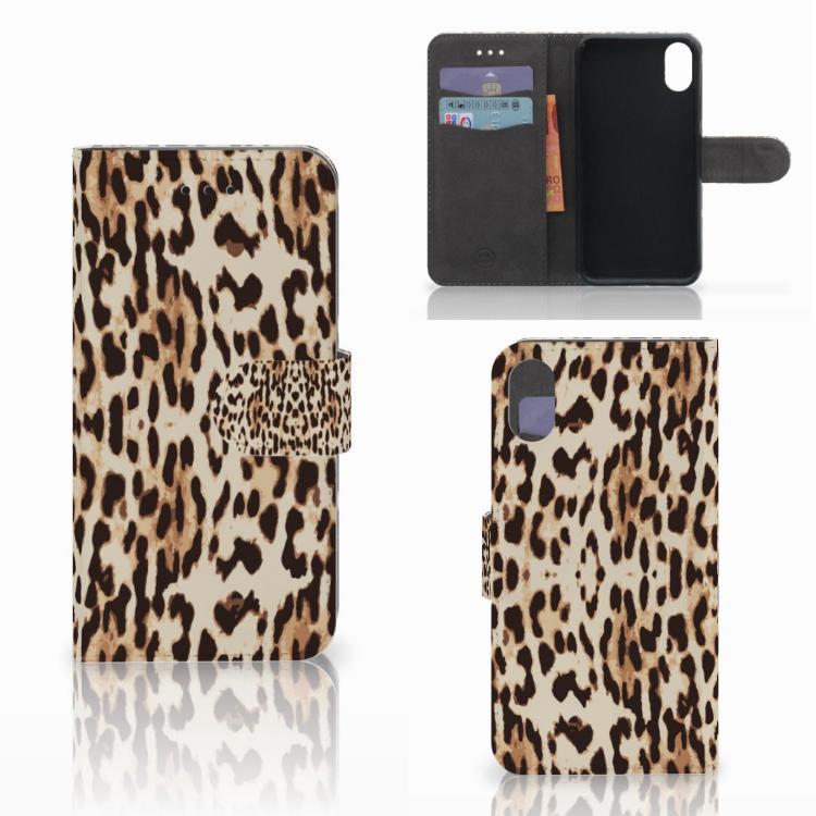 Apple iPhone X   Xs Telefoonhoesje met Pasjes Leopard