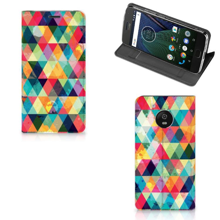 Motorola Moto G5 Hoesje met Magneet Geruit