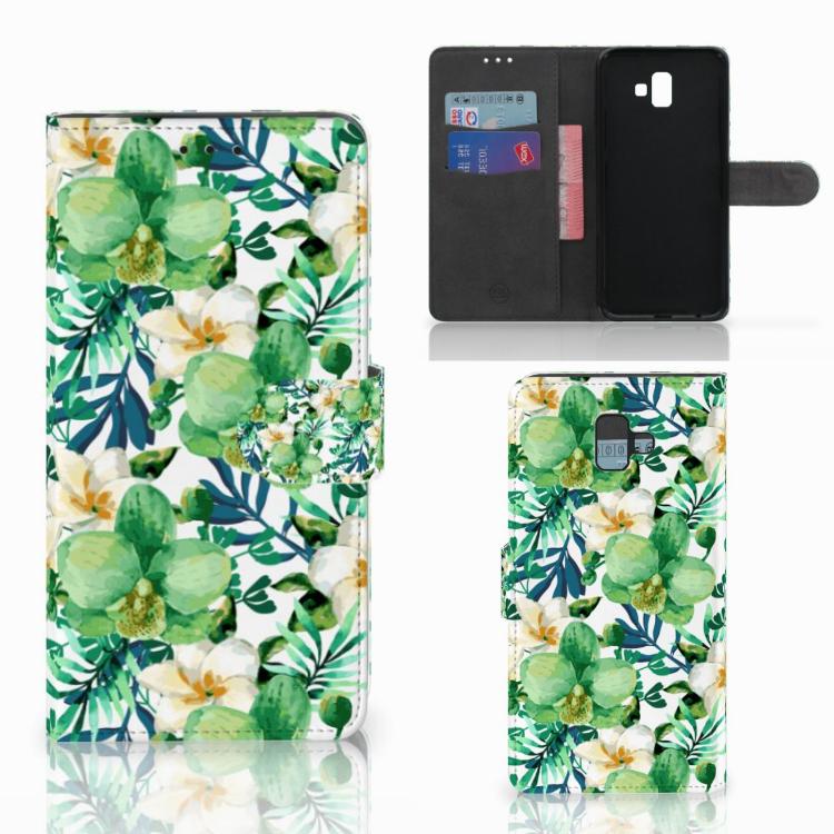 Samsung Galaxy J6 Plus (2018) Hoesje Orchidee Groen