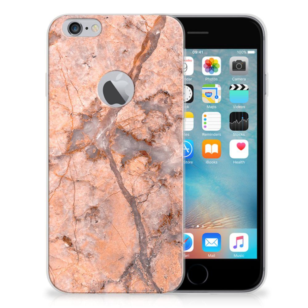 Apple iPhone 6 Plus | 6s Plus TPU Siliconen Hoesje Marmer Oranje