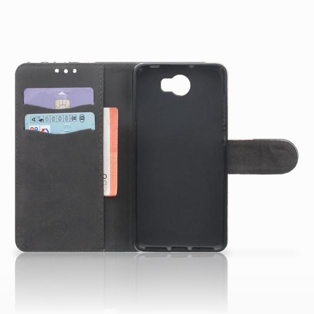 Huawei Y5 2 | Y6 II Compact Boekhoesje Black Pink Shapes