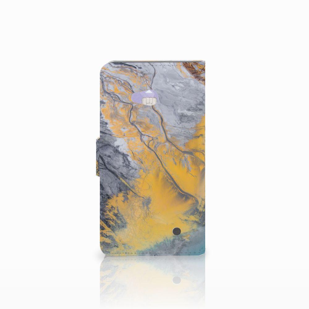 Microsoft Lumia 640 Bookcase Marble Blue Gold