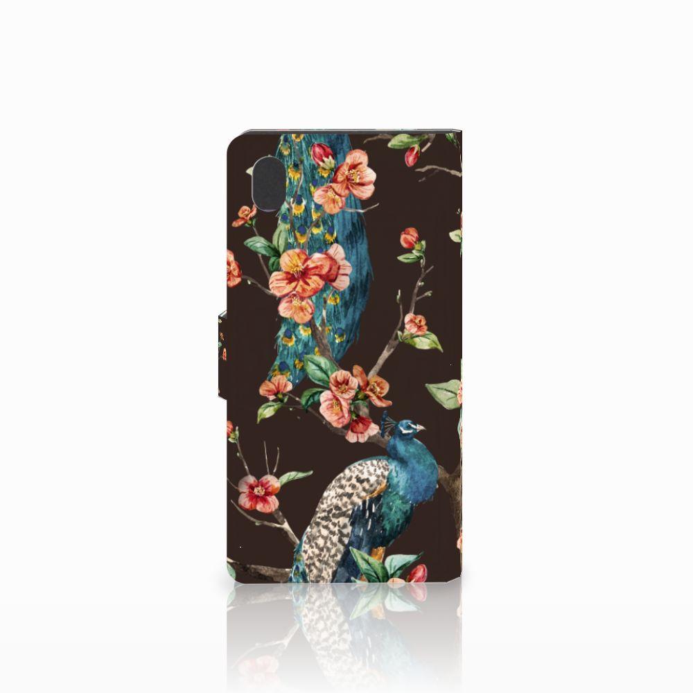 Sony Xperia M4 Aqua Telefoonhoesje met Pasjes Pauw met Bloemen