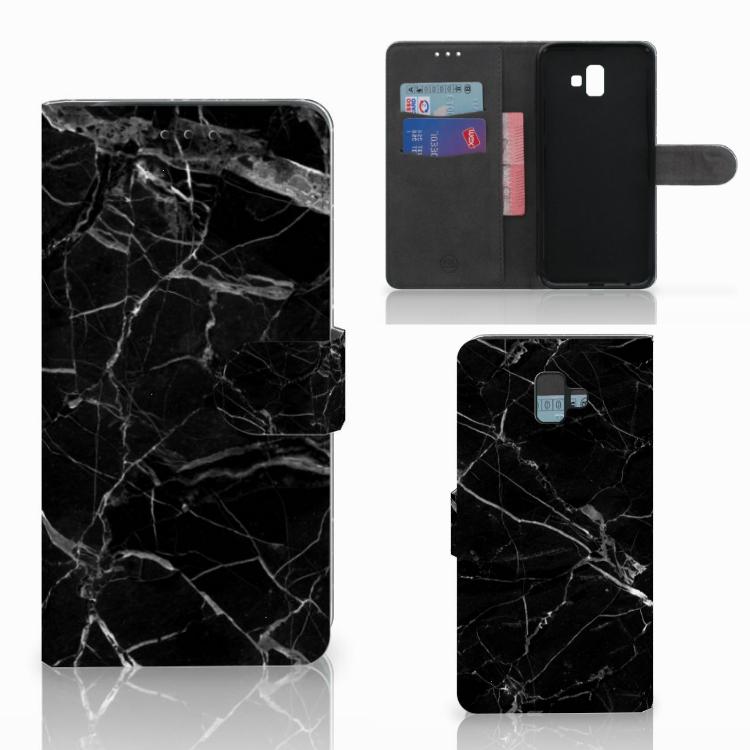 Samsung Galaxy J6 Plus (2018) Bookcase Marmer Zwart - Origineel Cadeau Vader