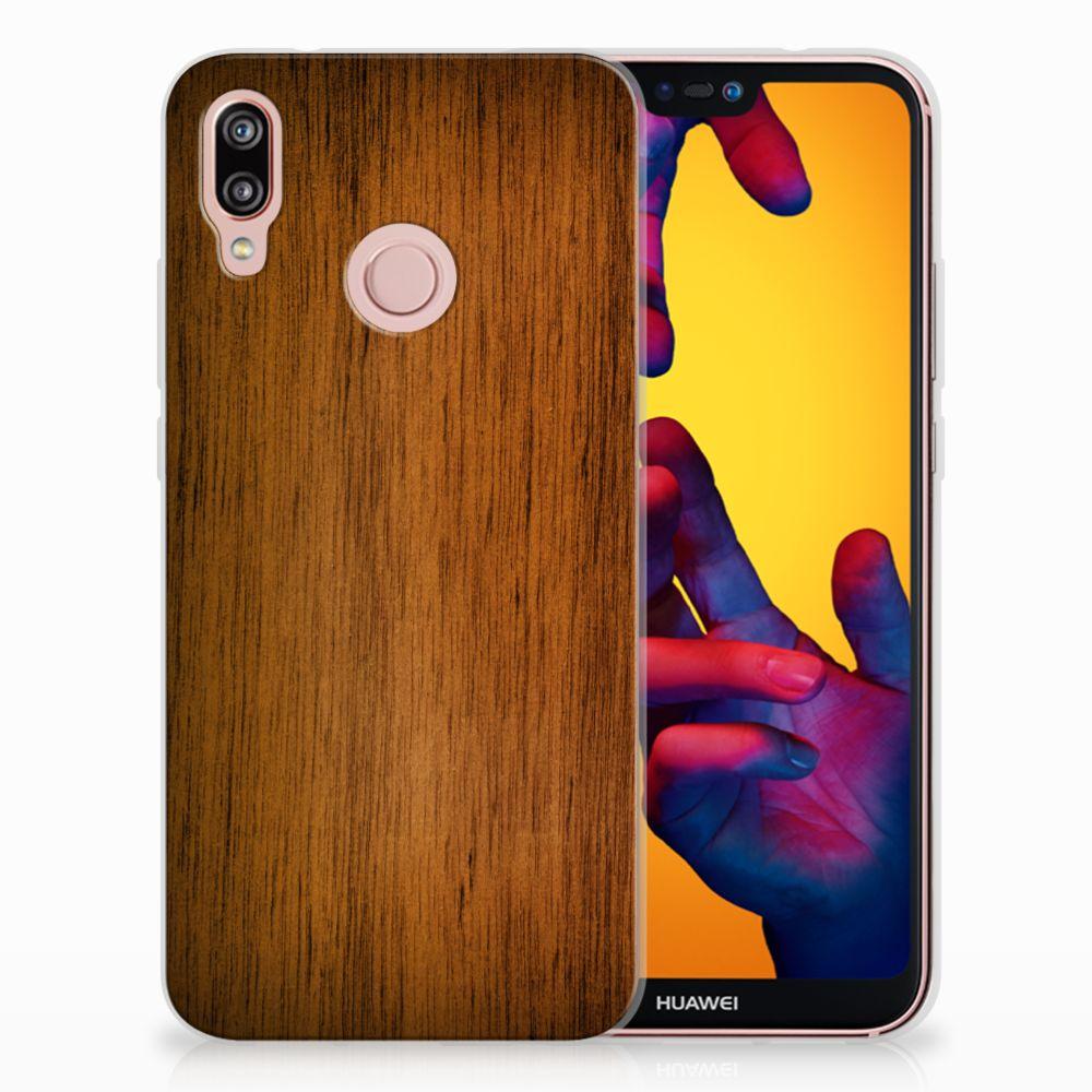 Huawei P20 Lite Uniek TPU Hoesje Donker Hout