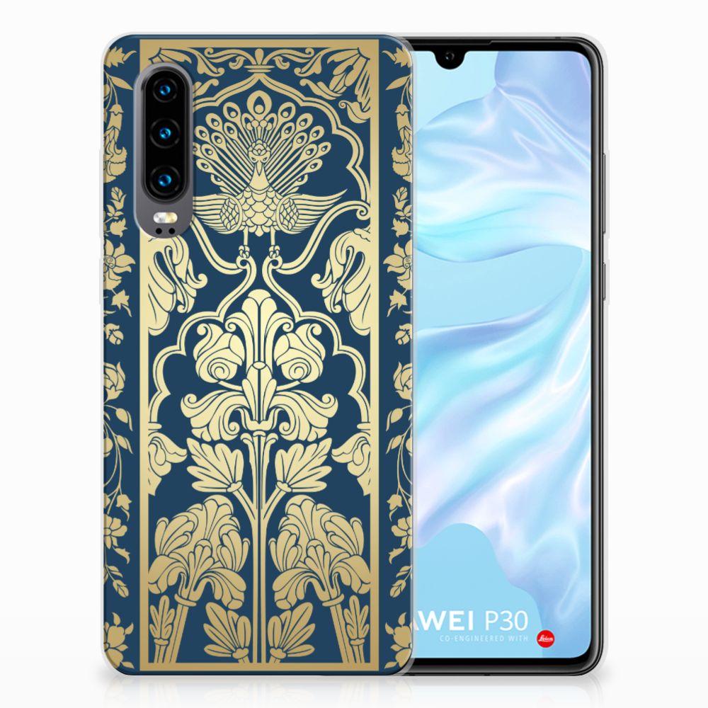 Huawei P30 TPU Hoesje Golden Flowers