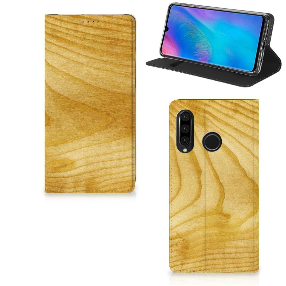 Huawei P30 Lite Book Wallet Case Licht Hout