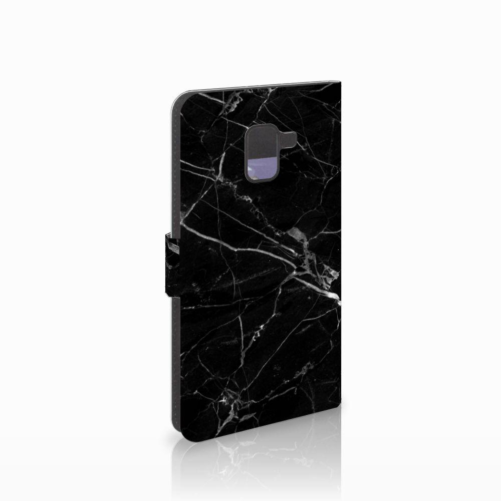 Samsung Galaxy A8 Plus (2018) Uniek Boekhoesje Marmer Zwart
