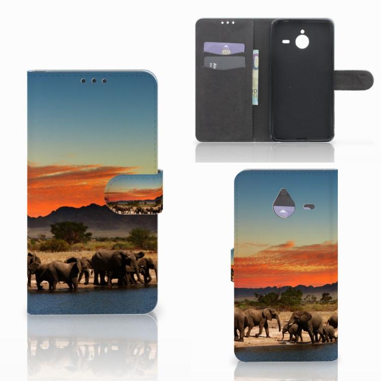 Microsoft Lumia 640 XL Telefoonhoesje met Pasjes Olifanten