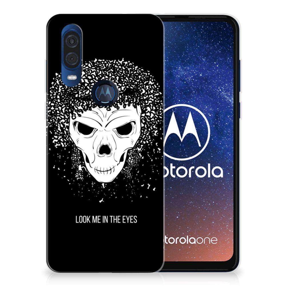 Silicone Back Case Motorola One Vision Skull Hair