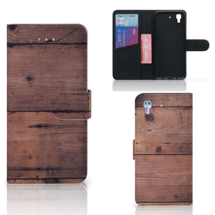 Honor 4A | Y6 Book Style Case Old Wood