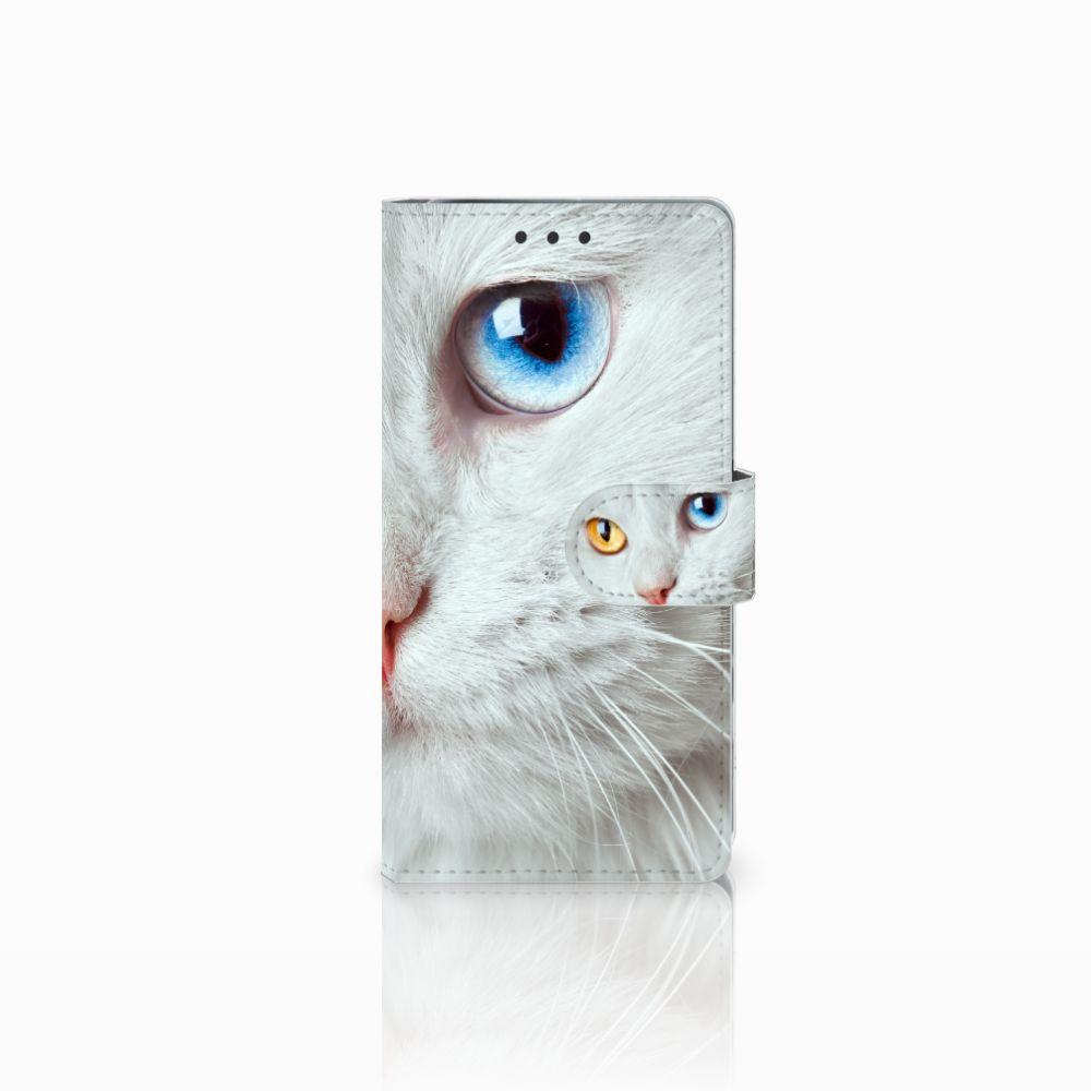 Sony Xperia X Performance Telefoonhoesje met Pasjes Witte Kat