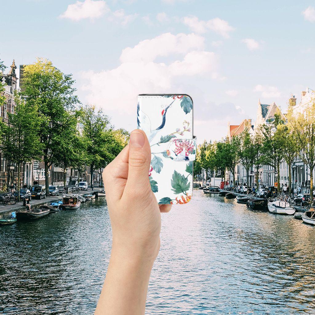 Apple iPhone 5 | 5s | SE Uniek Boekhoesje Bird Flowers