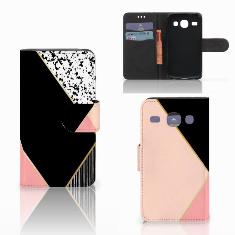 Samsung Galaxy Core i8260 Bookcase Zwart Roze Vormen