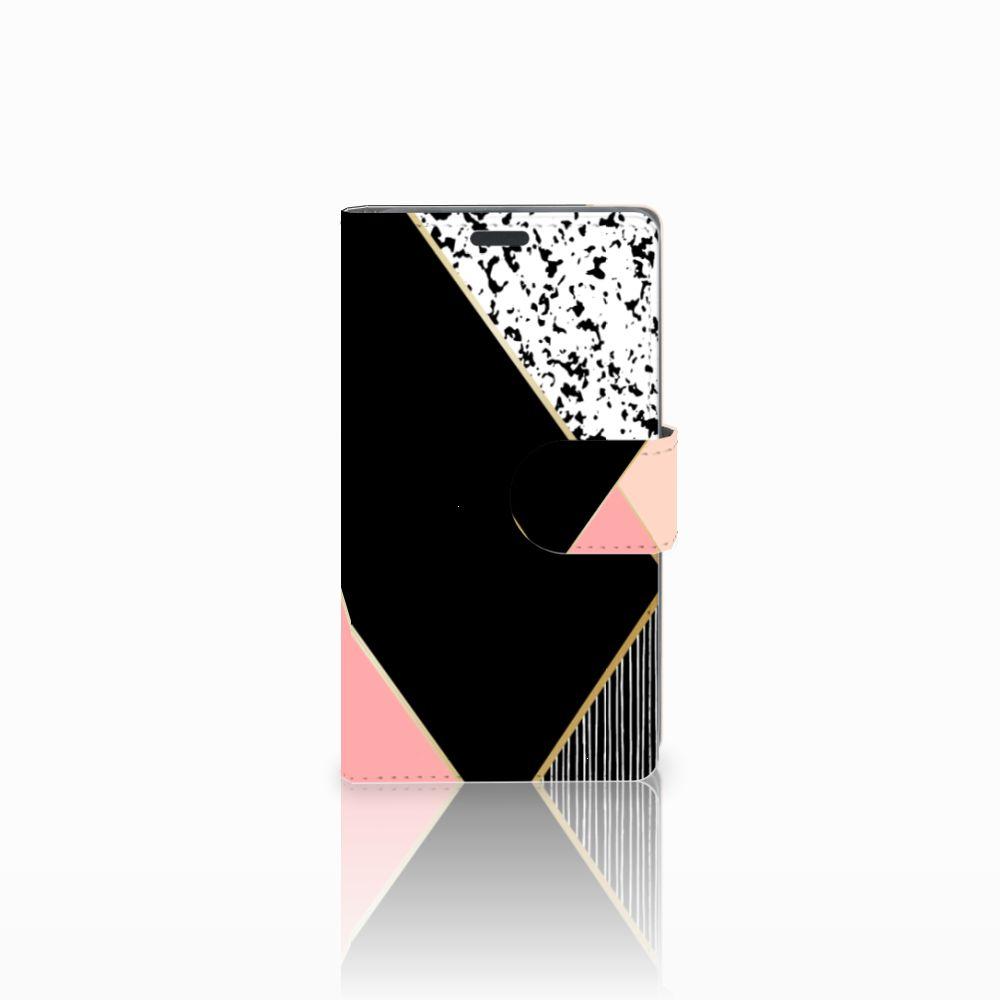 Nokia Lumia 625 Uniek Boekhoesje Black Pink Shapes
