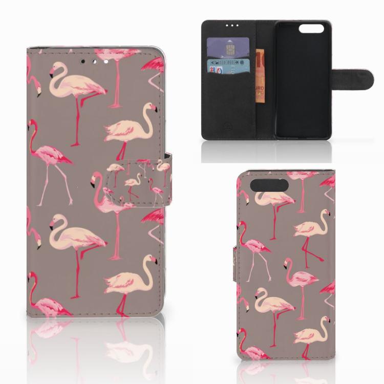 Honor 9 Telefoonhoesje met Pasjes Flamingo