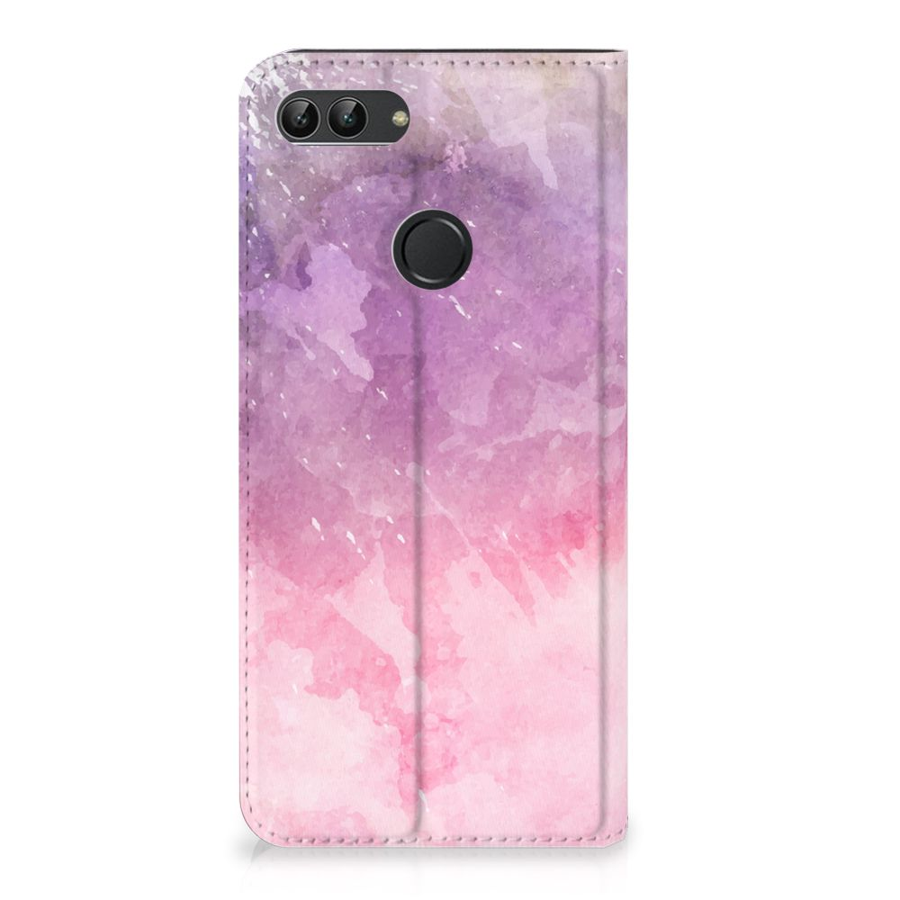 Huawei P Smart Standcase Hoesje Design Pink Purple Paint