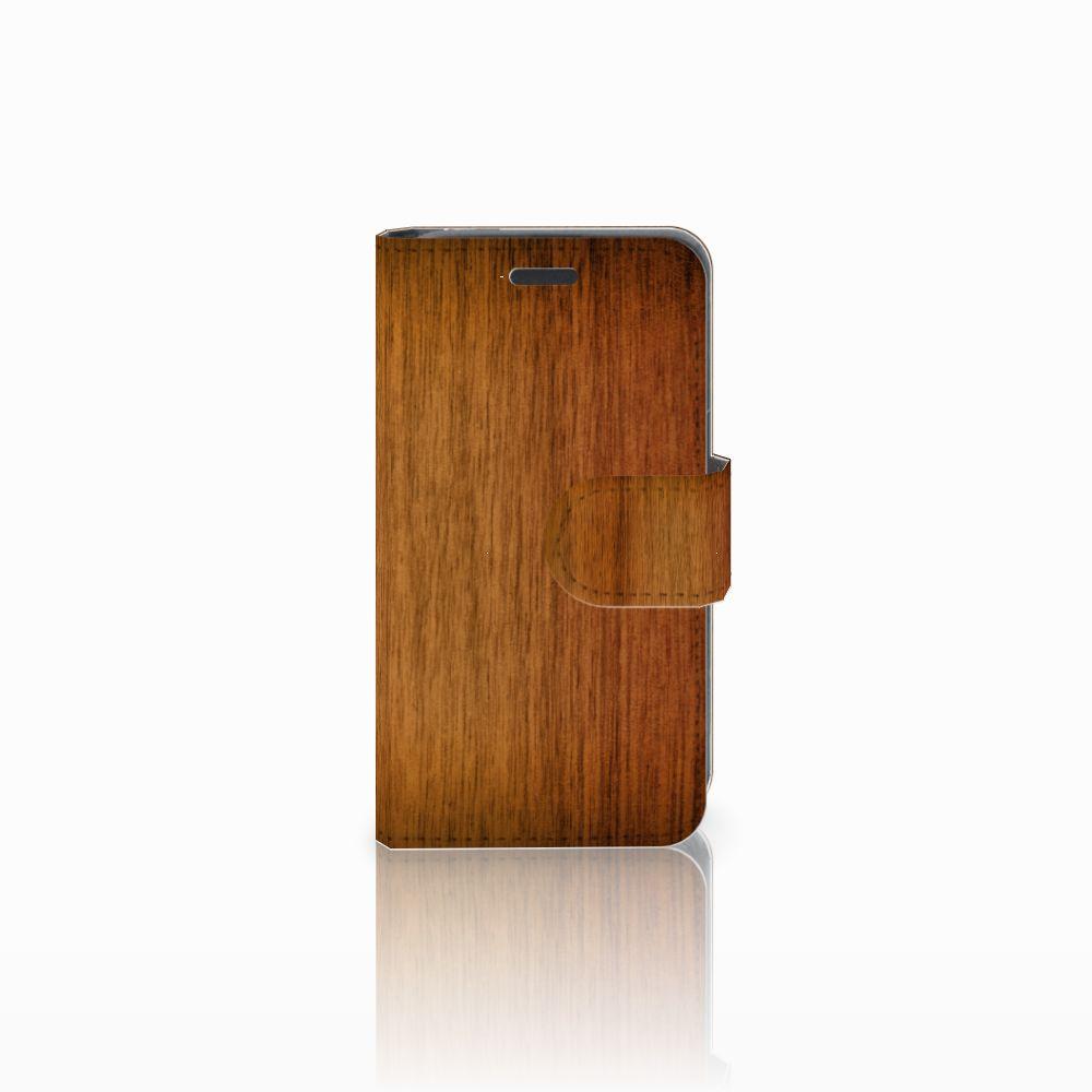 Nokia Lumia 520 Uniek Boekhoesje Donker Hout