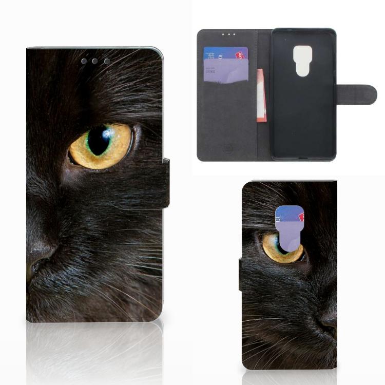 Huawei Mate 20 Telefoonhoesje met Pasjes Zwarte Kat