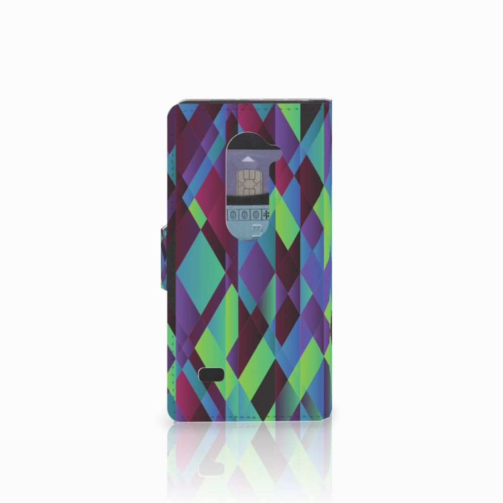 LG Leon 4G Bookcase Abstract Green Blue