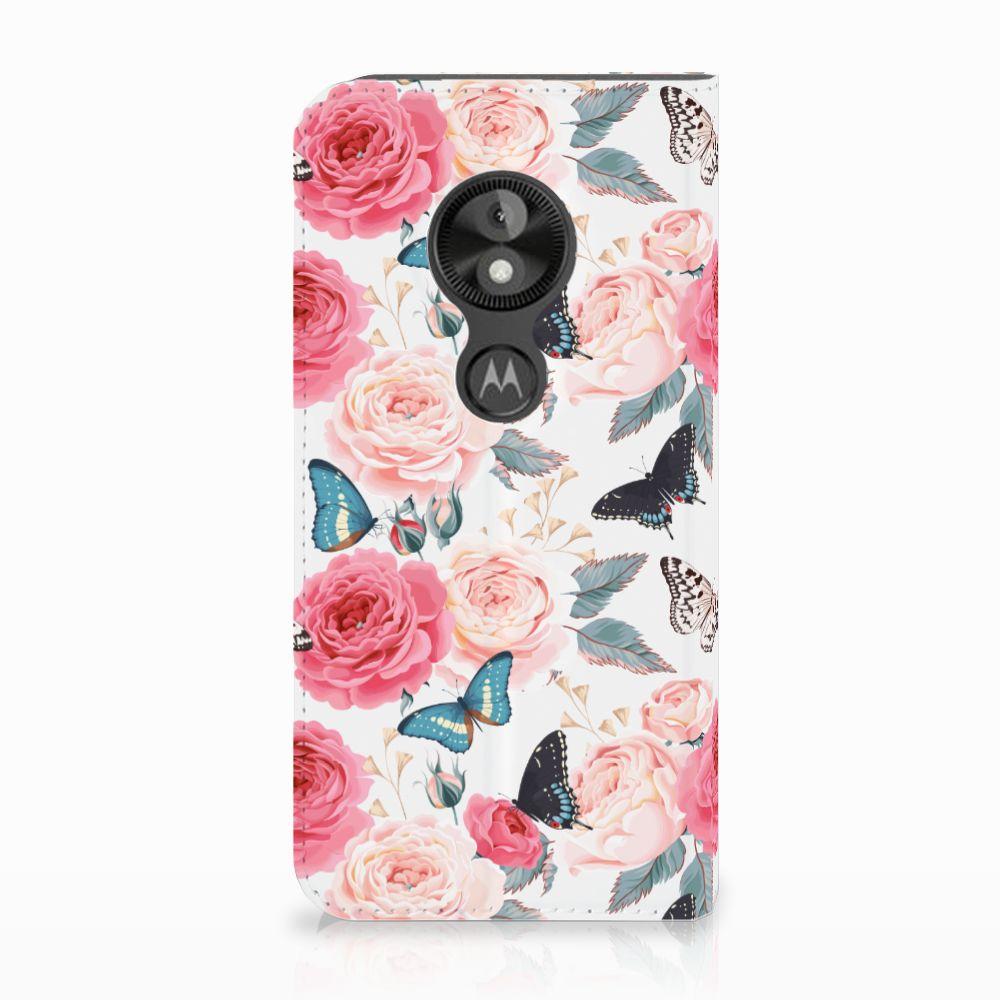 Motorola Moto E5 Play Uniek Standcase Hoesje Butterfly Roses