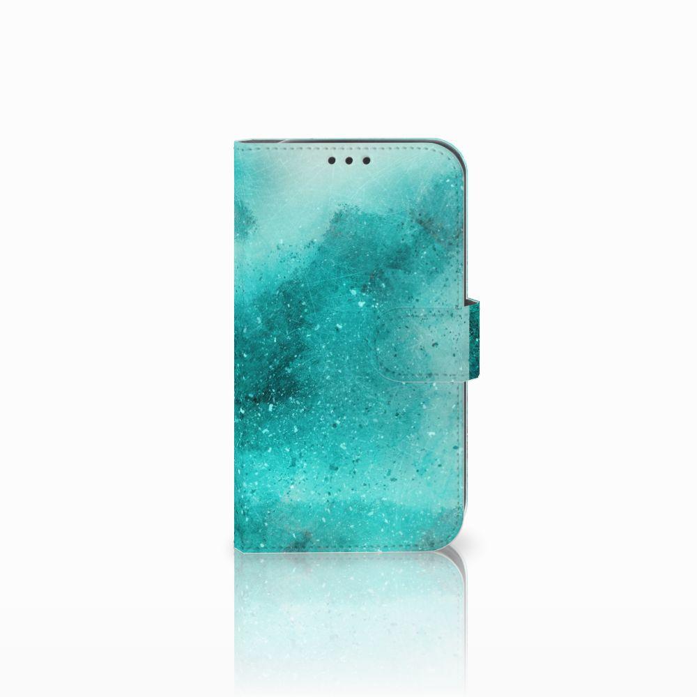 Samsung Galaxy Xcover 4 Uniek Boekhoesje Painting Blue