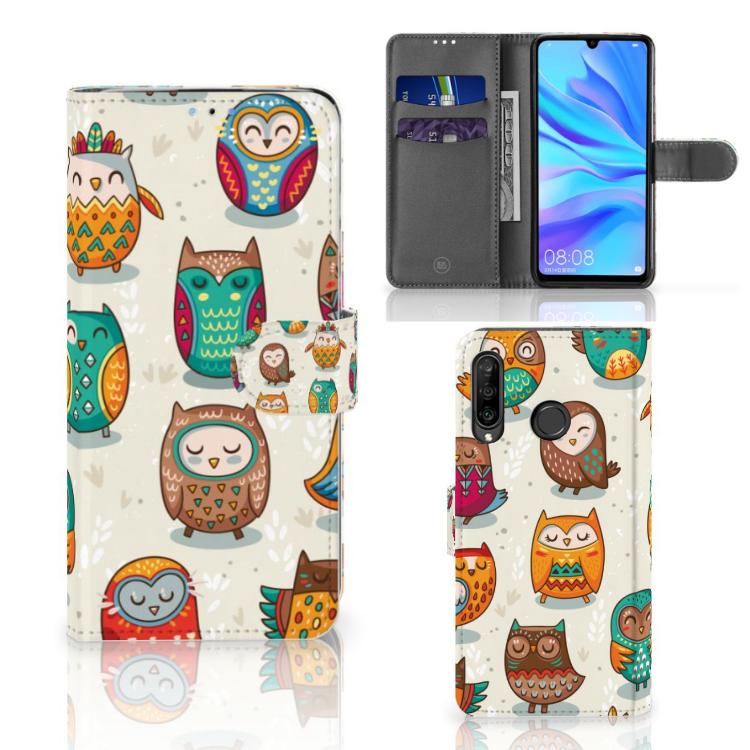 Huawei P30 Lite (2020) Telefoonhoesje met Pasjes Vrolijke Uilen