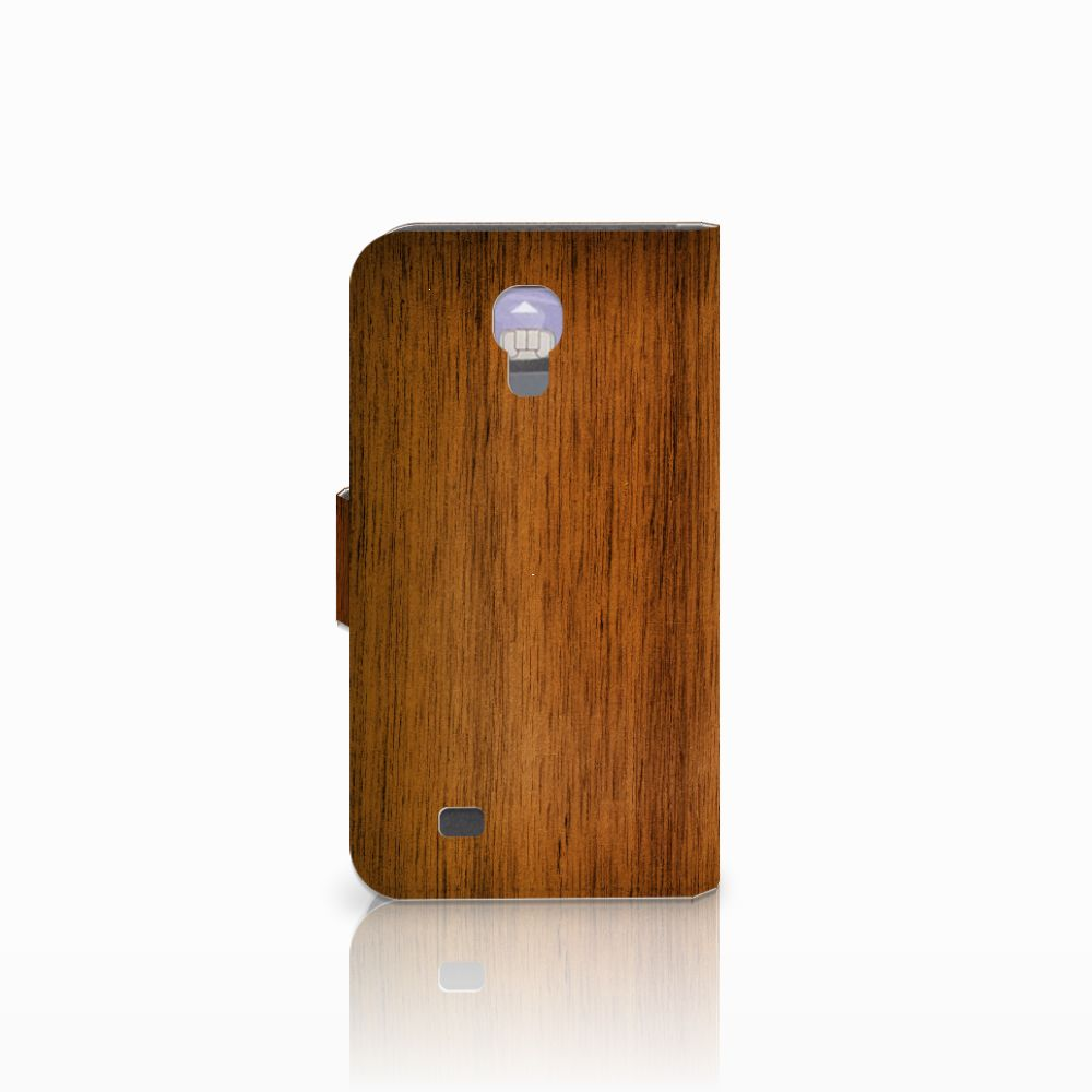 Samsung Galaxy S4 Book Style Case Donker Hout