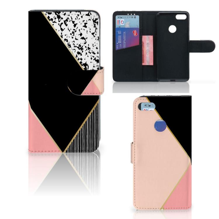 Motorola Moto E6 Play Bookcase Zwart Roze Vormen
