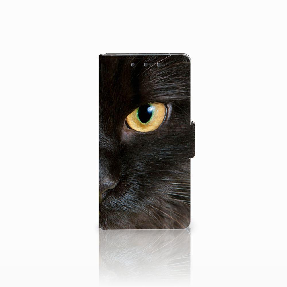 HTC One M7 Uniek Boekhoesje Zwarte Kat