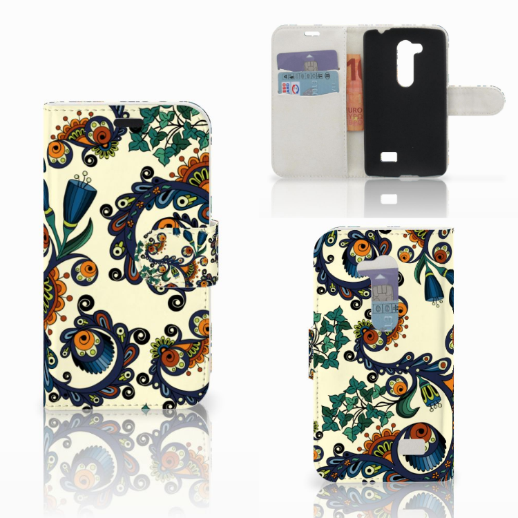 Wallet Case LG L Fino Barok Flower