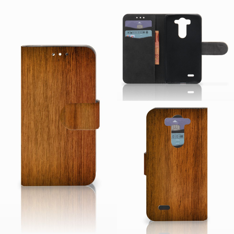 LG G3 S Book Style Case Donker Hout