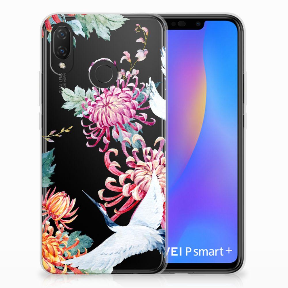 Huawei P Smart Plus Uniek TPU Hoesje Bird Flowers