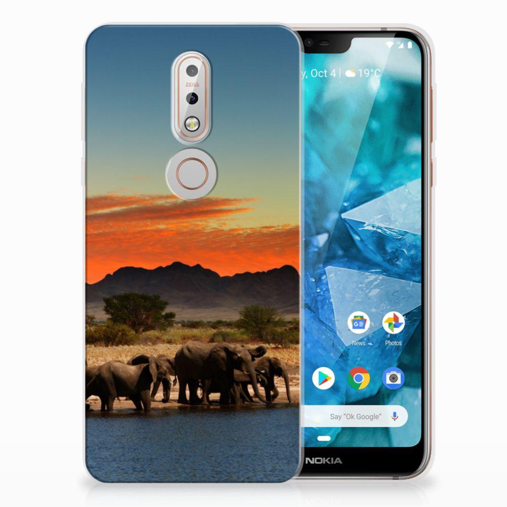 Nokia 7.1 TPU Hoesje Design Olifanten