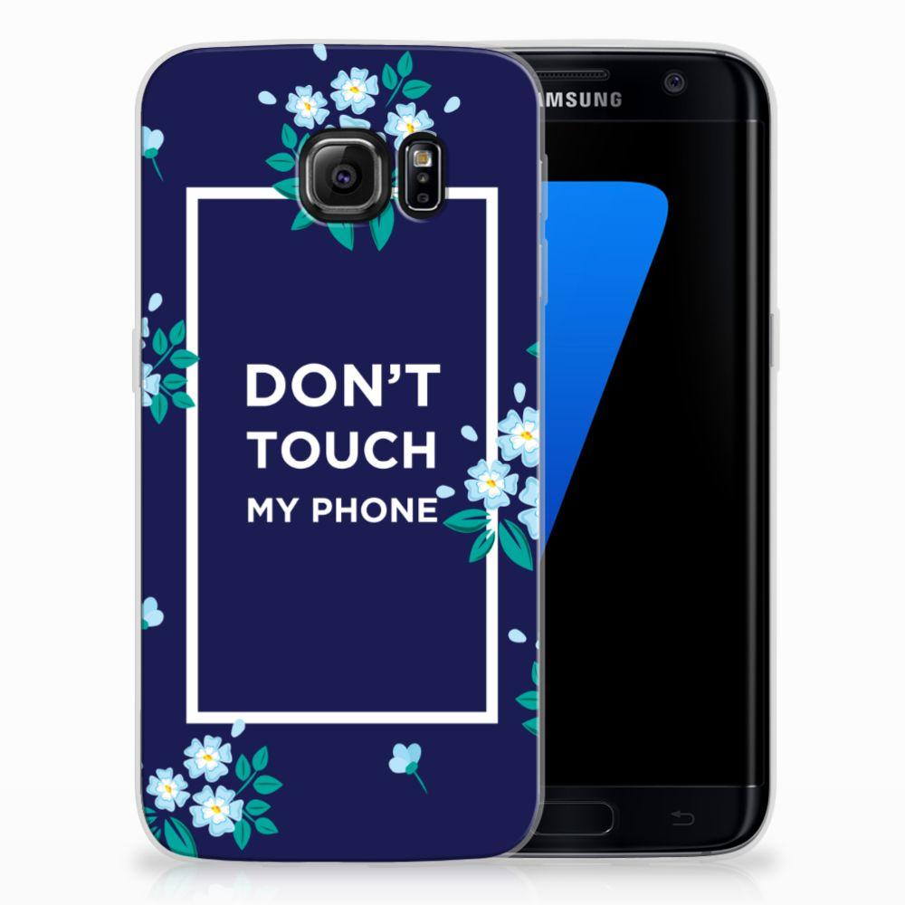 Samsung Galaxy S7 Edge TPU Hoesje Flowers Blue DTMP