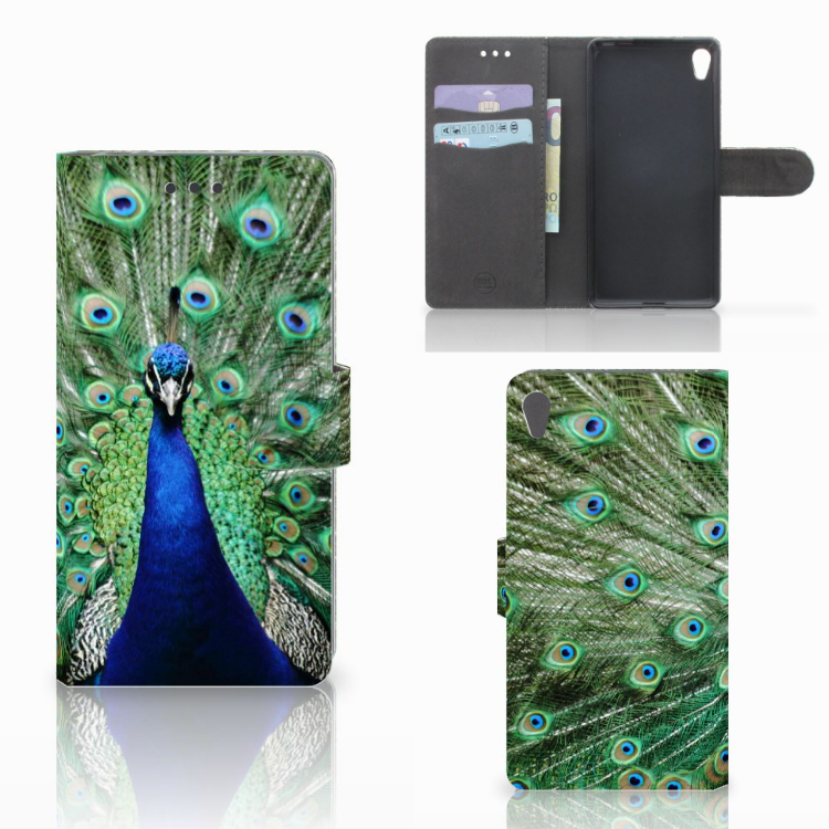 Sony Xperia E5 Telefoonhoesje met Pasjes Pauw