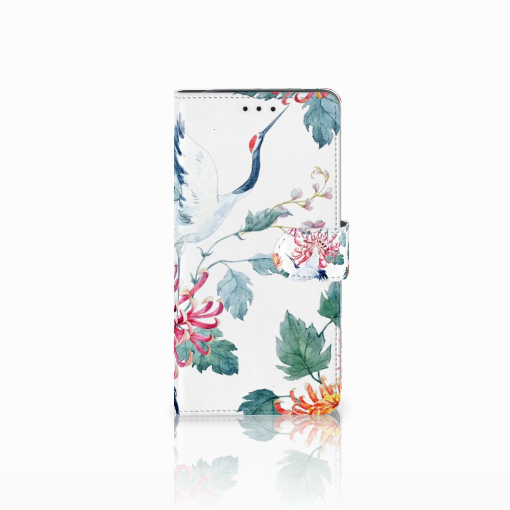 Samsung Galaxy J6 Plus (2018) Uniek Boekhoesje Bird Flowers