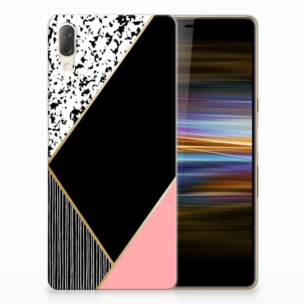 Sony Xperia L3 TPU Hoesje Zwart Roze Vormen
