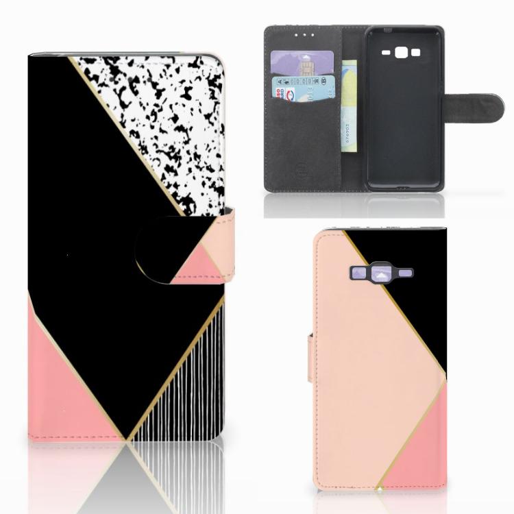 Samsung Galaxy Grand Prime | Grand Prime VE G531F Bookcase Zwart Roze Vormen