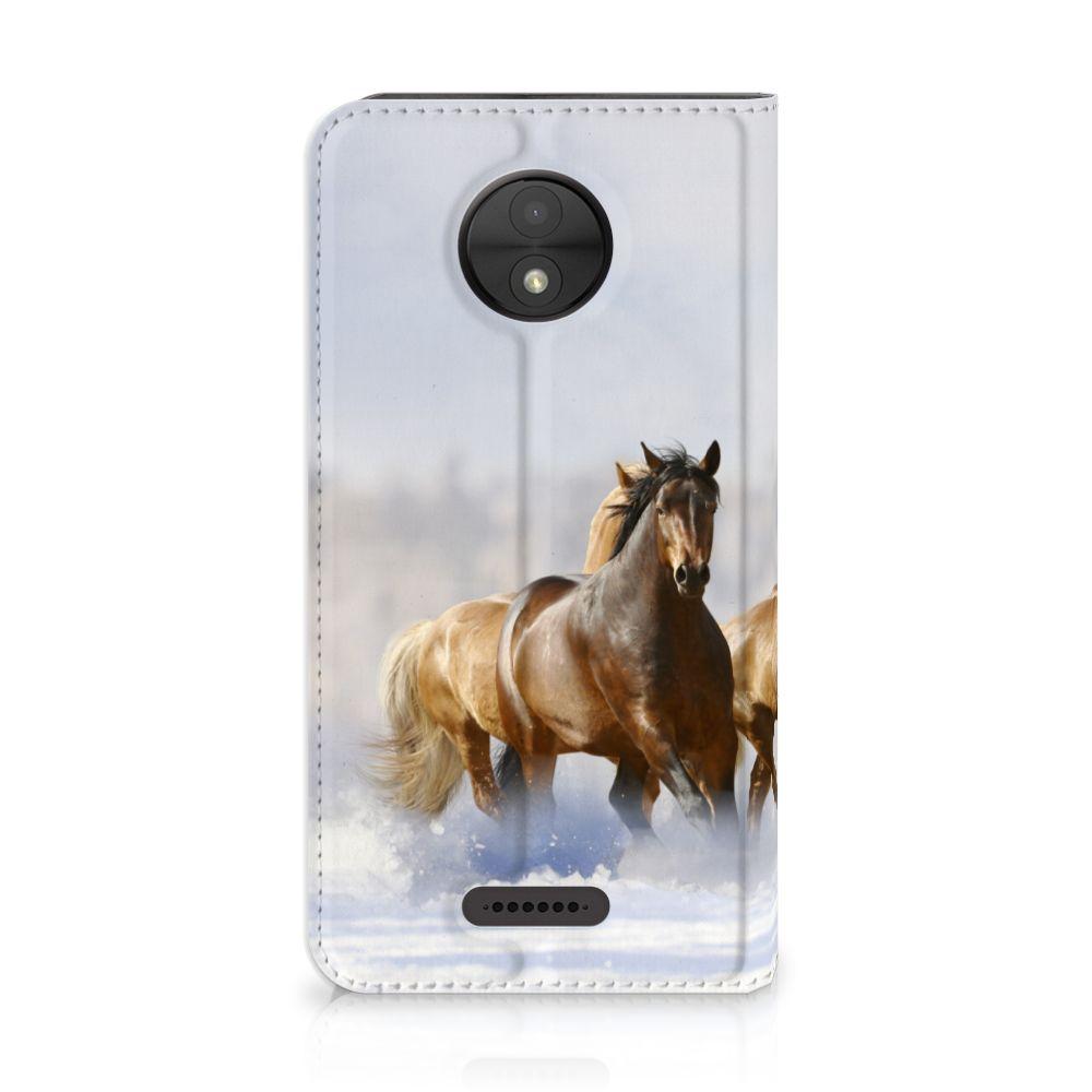Motorola Moto C Uniek Standcase Hoesje Paarden