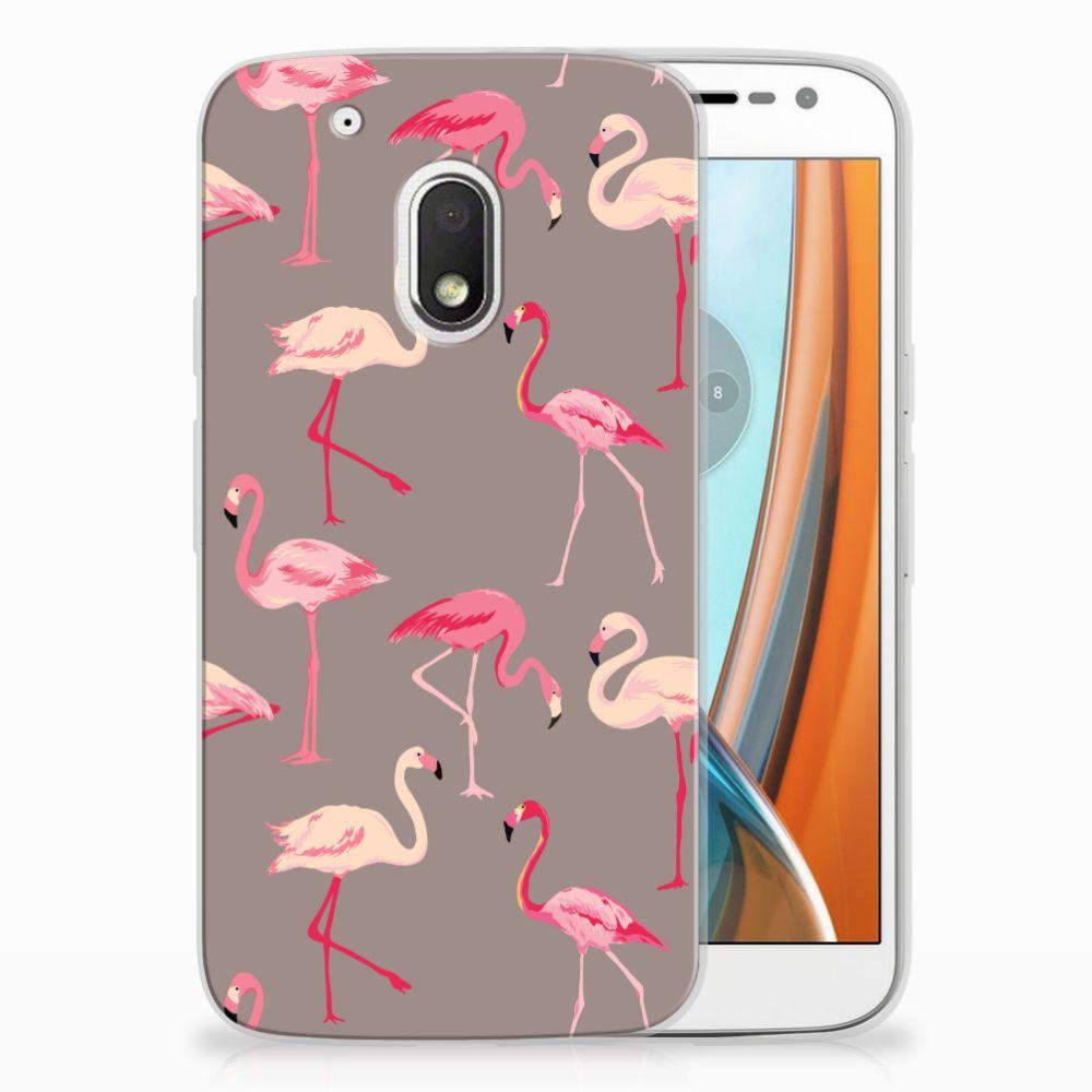 Motorola Moto G4 Play Uniek TPU Hoesje Flamingo
