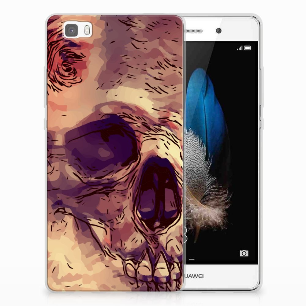 Silicone Back Case Huawei Ascend P8 Lite Skullhead