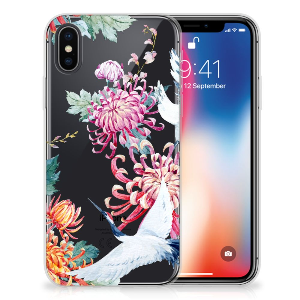 Apple iPhone X | Xs TPU Hoesje Bird Flowers
