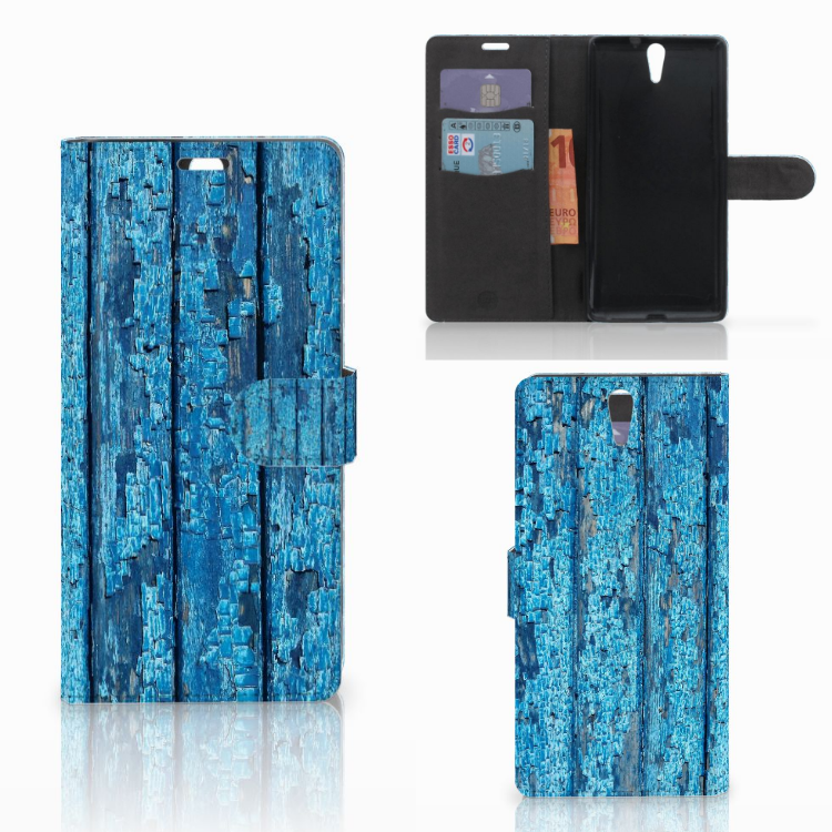 Sony Xperia C5 Ultra Book Style Case Wood Blue