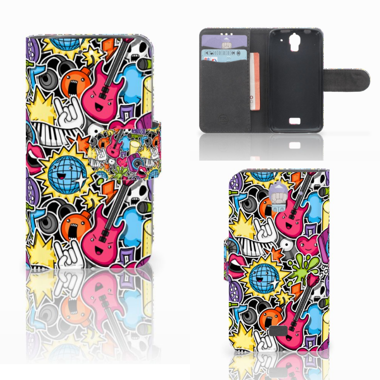 Huawei Y360 Wallet Case met Pasjes Punk Rock