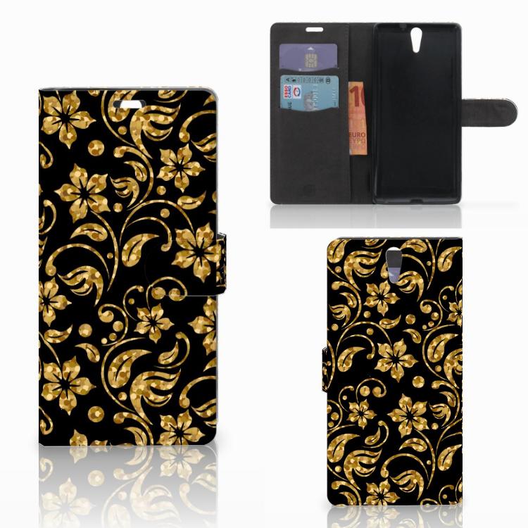 Sony Xperia C5 Ultra Hoesje Gouden Bloemen